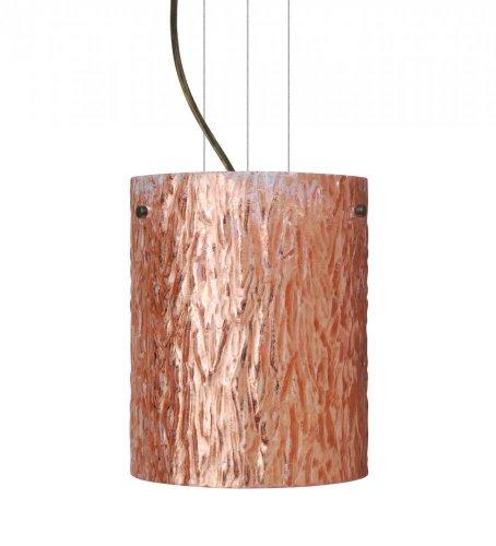 Besa Lighting 1KG-4006CS-BR 1X100W A19 Tamburo 8 Pendant with Stone Copper Foil Glass, Bronze Finish