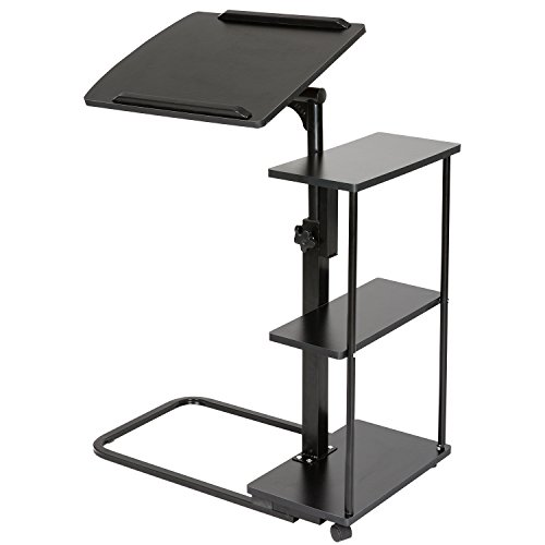 DOEWORKS Laptop Desk Height Adjustable Tray Side Table for Bed or Sofa, Black Overbed Table with Wheels by DOEWORKS