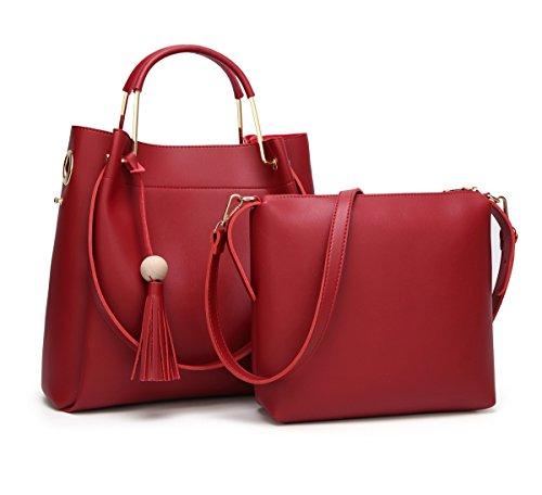 Pcs Beginning Vin Messenger À Auspicious Tote 2 Seau Set Tassel Sac Femmes Bandoulière Bag Unique Rouge 4gqw1