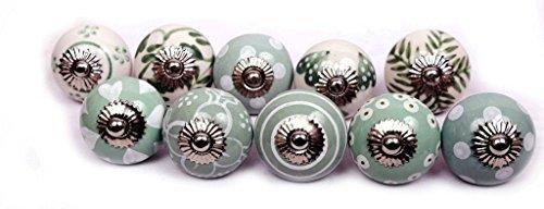 Glitknob 10 Knobs Dull Greenish& White Hand Painted Ceramic Knobs Cabinet Drawer Pull