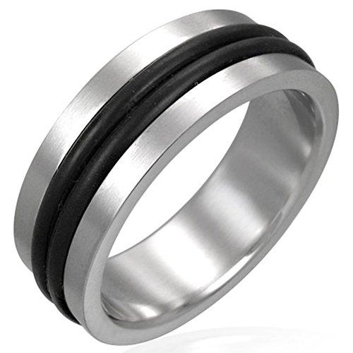 Zense-Bague-homme-en-acier-Zense-ZR0003-avec-un-double-anneau-de-caoutchouc-noir