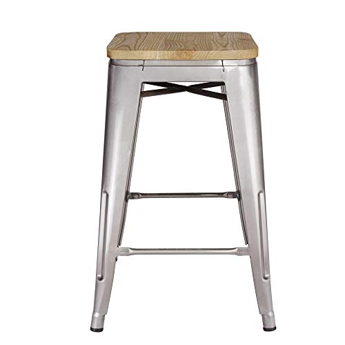 GIA 24-Inch Backless Counter Height Stool with Wooden Seat, Gunmetal/Light Wood, 1-Pack