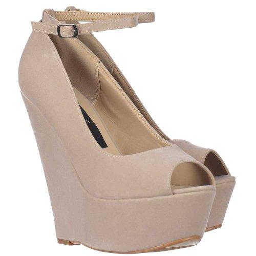 Ladies Women's Nude/Beige Suede Wedge Peep Toe Platform Shoes Ankle Strap - Nude/Beige Suede Beige Cream Nude 3lk0OZ1GI