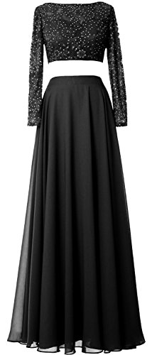 MACloth Women 2 Piece Long Sleeve Prom Dress Lace Chiffon Formal Evening Gown Negro