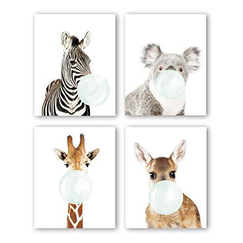 Nursery Animals Prints Set of 4(8