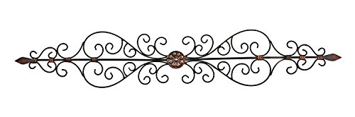 Metal Wall Decor Plaque Elegant Wrought Iron Scroll Indoor Outdoor 47