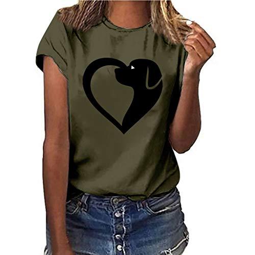 Women T Shirt Animals Printed Scoop Neck Short Sleeve T-Shirt Casual Loose Tops Juniors Tee for Girls Teenagers Ladies