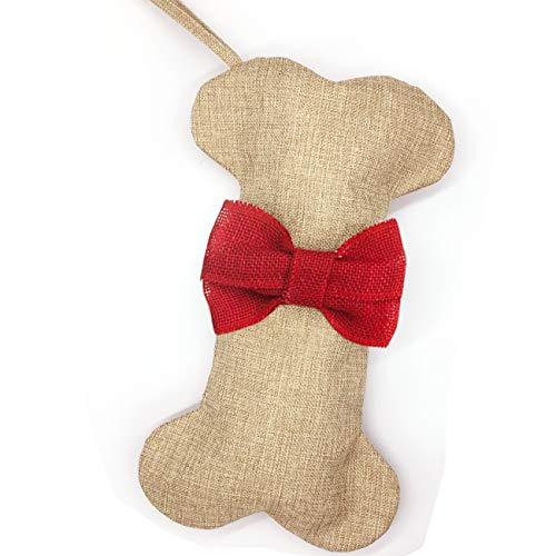 Malier New Linen Large Christmas Stocking for Dogs