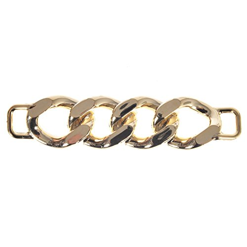 Mibo ABS Metal Plated Ornament Decorative Non Functional Chain Link Bar with 10mm Strap Ring Each End Gold