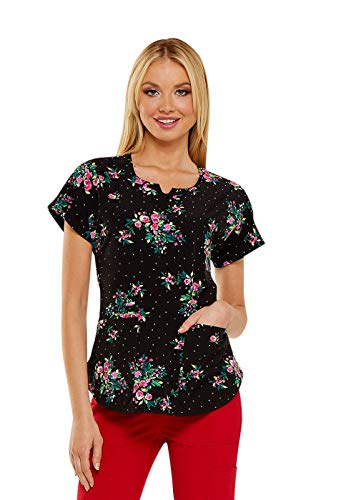 HeartSoul Women's Round Neck Floral Print Scrub Top Small Print
