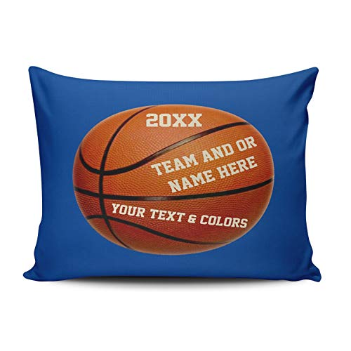 WEINIYA Bedroom Custom Decor Personalized Basketball Players Gifts Blue and Orange Throw Pillow Cover Cushion Case Fashion One Sided Printed Design Queen 20x30 Inches