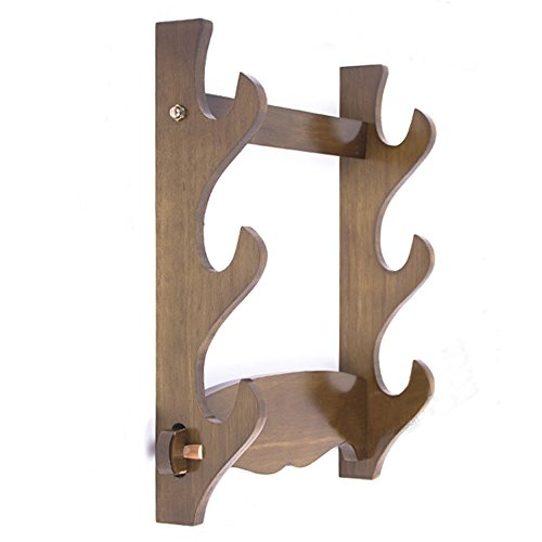 Wood Wall Mount Samurai Sword Katana Stand Hanger Bracket Support Holder 3 Layer ()