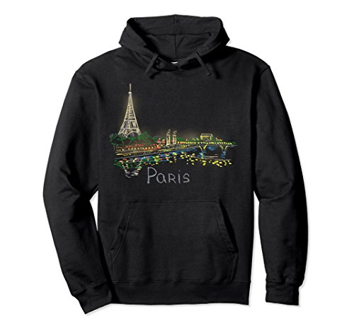 Unisex Paris Panorama at night Pullover Hoodie 2XL Black