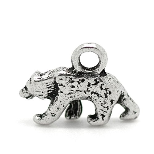 (Housweety 50 Silver Tone Polar Bear Charms Pendants 16x12mm)