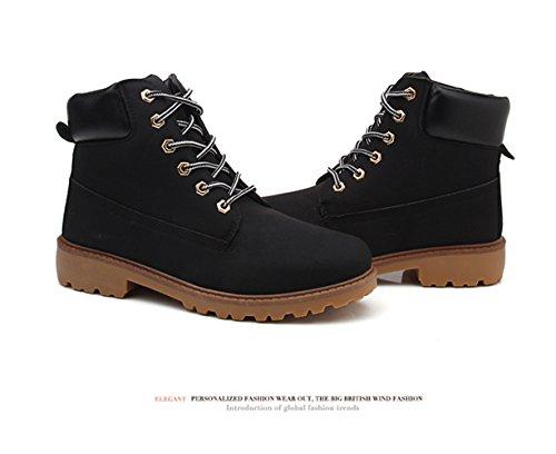 Mens Zapatos Negro JJZXX para Botas hombre unisex grueso Botas Waterproof Martin Premium Mujer AwxqzUdaw