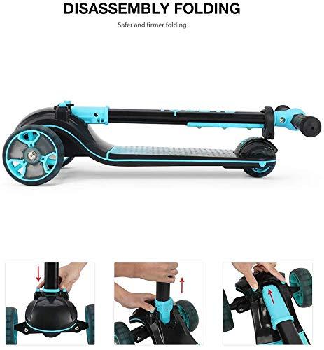 Fascol Patinete de Tres Ruedas para Niños de 3 a 12 Años, Luces LED, Scooter Plegable y Barra Ajustable en T, Carga Máxima 60 kg, (Azul Oscuro)