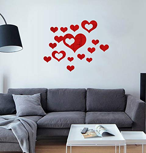 HOODDEAL Acrylic Heart-Shaped Mirror Wall Stickers Plastic Removable Heart Art Decor Wall Poster Living Room Home Decoration,Multi-Size (15PCS, Red) ()