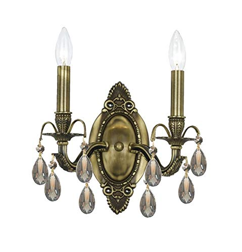 Crystorama 5562-AB-GTS Crystal Accents Two Light Wall Sconce from Dawson collection in Brass-Antiquefinish, 5.50 inches