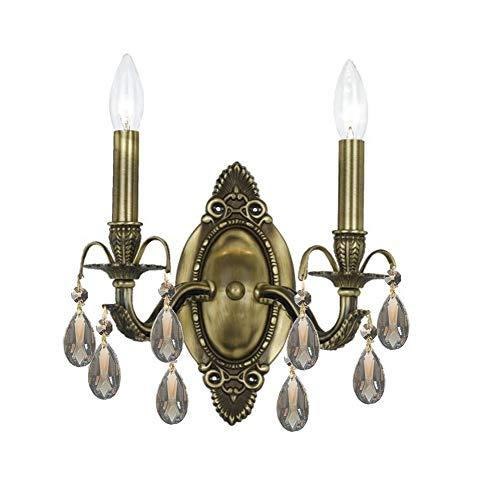 5562-AB-GT-MWP Dawson 2LT Wall Sconce, Antique Brass Finish with Golden Teak Hand Cut - Mwp Gt Ab Crystal