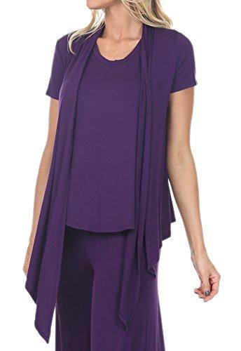 - MissyBasic 7021 Womens Short Sleeve Open Draped Cardigan Plum Elab XL