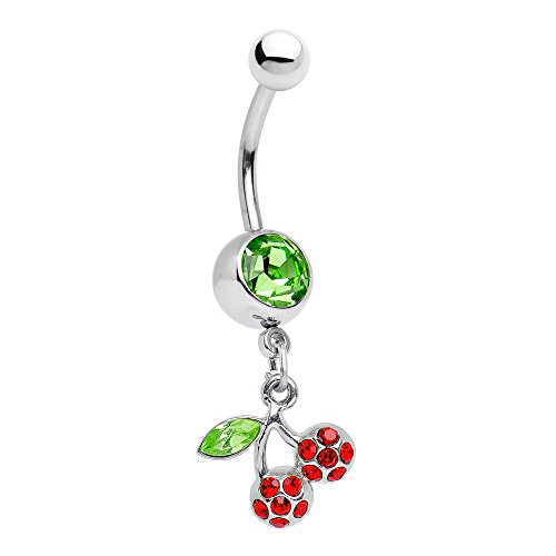 EG GIFTS Cherry Belly Button Ring Dangle with Green and Red Gems Surgical Steel 14g