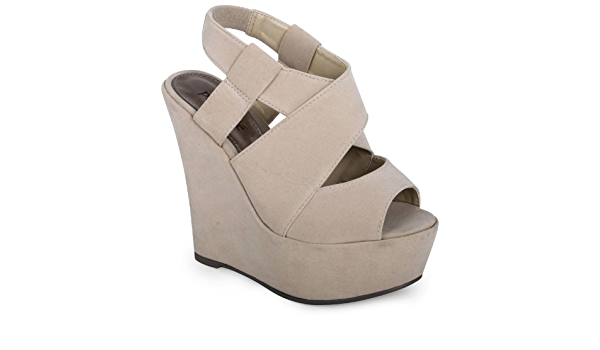 Womens Platform Round Toe Faux Suede Slip on Wedge High Heeled Dress Pumps Shoes