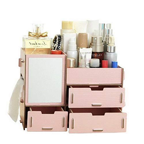 Mikash US New DIY Wood Cosmetic Organizer Makeup Jewellery Drawers Box Storage Display   Model JWRLBX - 1792   ()