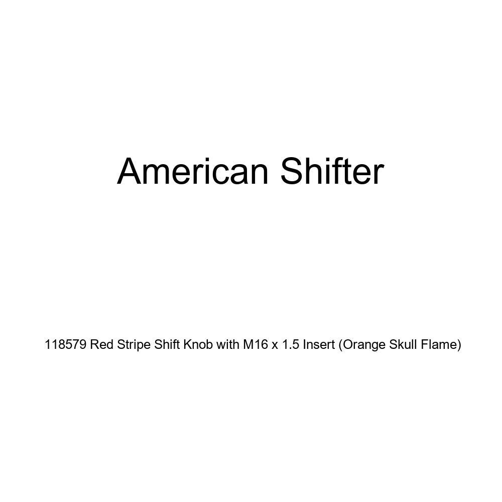 American Shifter 118579 Red Stripe Shift Knob with M16 x 1.5 Insert Orange Skull Flame