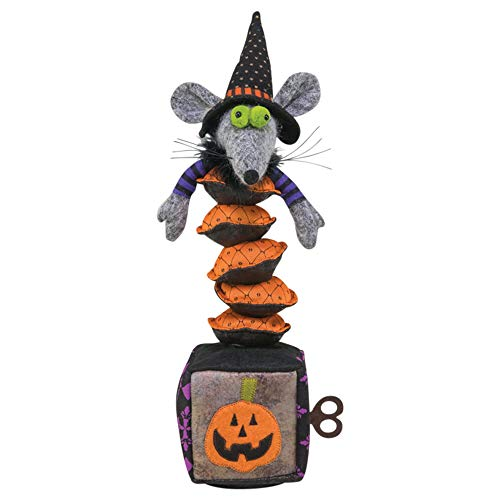 Musical Dancing Mouse Witch Jack-in-The-Box 15 Inch Tabletop Halloween Figurine