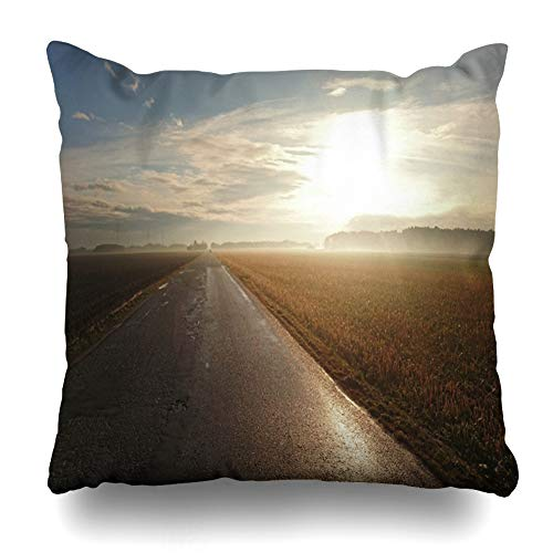 Ahawoso Throw Pillow Cover Square 16x16 Season Alpine Sunrise Over Fields Bavaria Nature Travel Parks Avenue Bavarian Cloud Clouded Countryside Zippered Cushion Case Home Decor Pillowcase ()