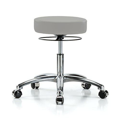 PERCH Chrome Stella Rolling Height Adjustable Salon & Spa Stool for Hardwood or Tile   Desk Height 18.5-24 Inches   300-Pound Weight Capacity   12 Year Warranty (Gray Vinyl)