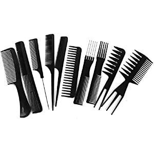FIRSTZON 10Pcs Pro Salon Hair Cut Styling Hairdressing Barbers Combs Brush Set