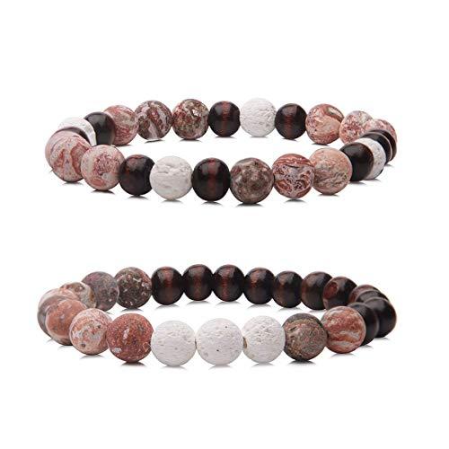 Wood Beads Yoga Bracelet,Essential Oil Diffuser Lava Rock & Sandlewood & Leopard Skin Jasper Chakra Bracelet for Men,Women (Wood Bracelet-1)