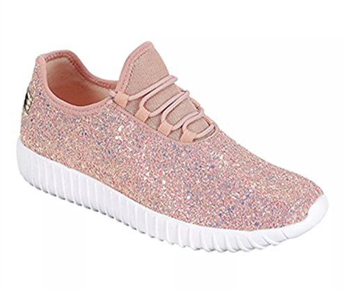 SF Forever Link Remy-18 Women&Kids Jogger Sneaker-Lightweight Glitter Quilted Lace Up Shoes New (5, Dusty Rose-18)