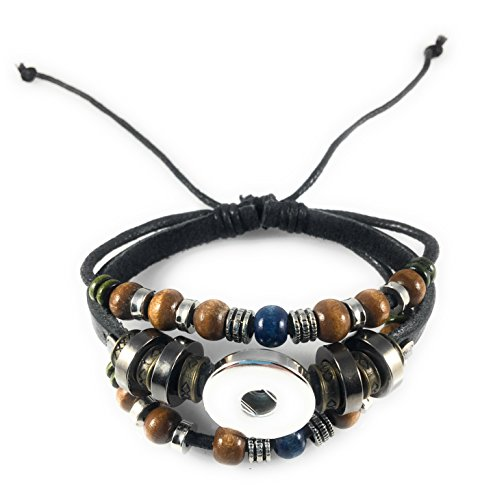 Chunk Snap Charm Bohemian Black Beaded Leather Bracelet for One Standard Size Snap - Adjustable (18mm Charm 1)
