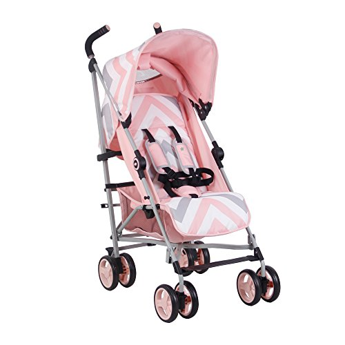 My Babiie US02 Pink Chevron Baby Stroller - Lightweight Baby Stroller with Carry Handle - Silver Frame and Pink Chevron - Lightweight Travel Stroller - Suitable from Birth - 33 lbs