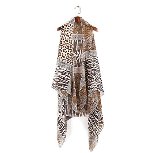 (A FEI Swimsuit Cover Up Womens Chiffon Vest Style Shawl Scarf Ethnic Leopard Zebra-Stripes Snakeskin Patchwork Printing Wrap Skirt Cardigan Asymmetric Swimsuit Cover Up)