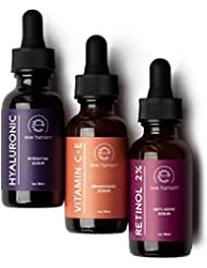 Anti Aging Skin Care Set by Eve Hansen - Best Natural Anti Wrinkle Serum Set, Dark Spot Corrector, Reduce Hyperpigmentation, Acne Scars, Age Spots - Hyaluronic, Retinol, Vit C Serums - 3 X 1 Ounce