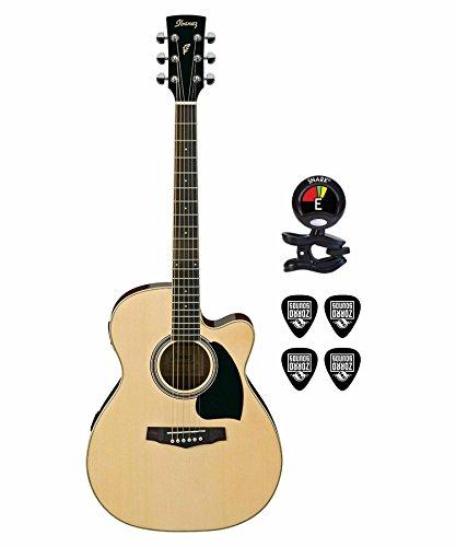 Ibanez guitar PC15ECENT Performance Grand Concert Acoustic Electric Guitars in Natural With Clip On guitar Tuner and Instrument cable guitar ()