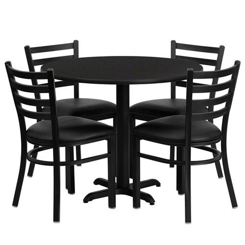 Flash Furniture 36'' Round Black Laminate Table Set with 4 Ladder Back Metal Chairs - Black Vinyl Seat