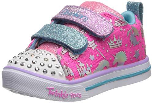 Skechers Kids Girls' Sparkle LITE-SPARKLELAND Sneaker, Hot Pink/Multi, 9 Medium US Toddler