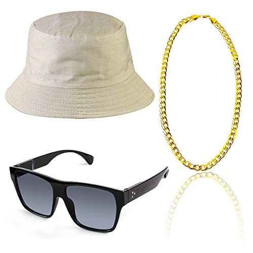 Beelittle 80s/90s Hip Hop Costume Kit Cool Rapper Outfits,Bucket Hat Sunglasses Gold Plated Chain ()