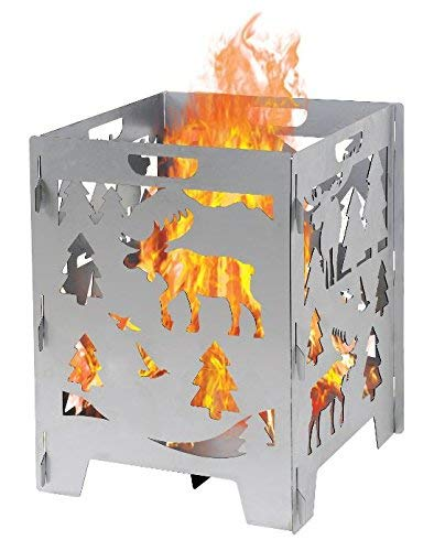 Moose Wood Burning Pit, Burn Cage, Incinerator Barrel, Great for Patio and Outdoor Backyard Bonfire Heavy Duty Large 21 x 21 x 27 inch (Circle Y Barrel)