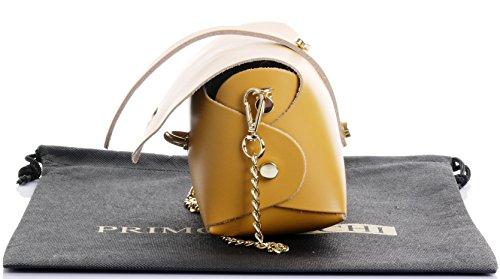 Primo Sacchi Sac de soirée bandoulière en cuir italien Mini petit épaulement Micro avec bracelet chaîne en métal.Comprend le sac protecteur de marque Moutarde Jaune