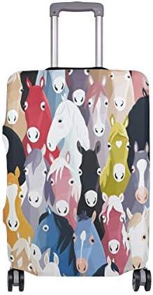 (ソレソレ)スーツケースカバー 防水 伸縮素材 キャリーカバー ラゲッジカバー うま 馬柄 カラフル かわいい 可愛い アニマル 可愛い おしゃれ 防塵 旅行 出張 便利 S M L XLサイズ