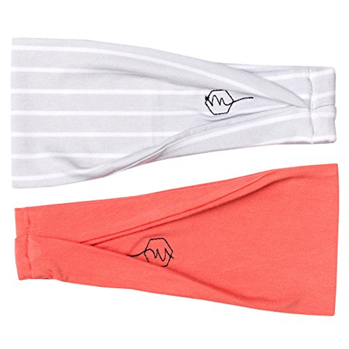 Maven Thread Womens Headband Yoga Running Exercise Sports Workout Athletic Gym Wide Sweat Wicking Stretchy No Slip 2 Pack Set Grey White Peach Pink Sunrise
