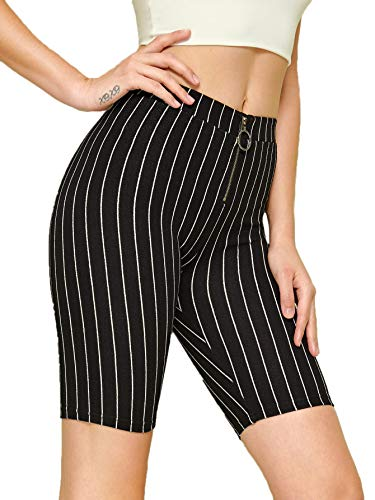 (WDIRARA Women's Stretchy Elastic Waist O-Ring Zip Front Striped Short Leggings Black L)