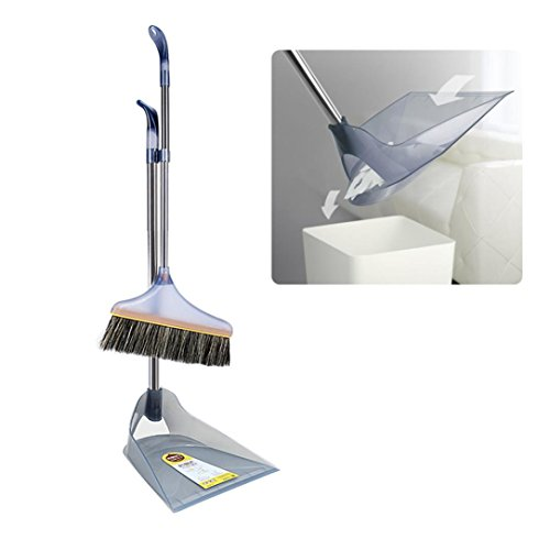 Auwer Upright Sweep Set Clean Durable Stainless Steel New Material Home Casual Environmental Recycle Upright Dustpan Lobby With Extendable Broom Combo Shipped from the US (Gray)