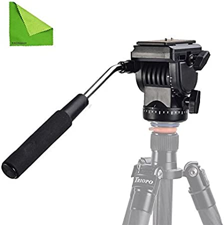 EACHSHOT YT-950 Tripod Action Fluid Drag Head Video Camera For DSLR Shooting Filming with EACHSHOT Cleaning Cloth