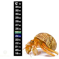 SunGrow Stick-on Thermometer for Hermit Crabs, 5.2 Inches Tall by 0.7 Inches Wide, Provide Precise Temperature Measurement, Easy to Use and Install, Helps Keep Crabs Healthy and Live Longer